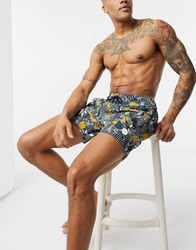 Native Youth Floral Printed Swim Short Navy