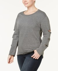 Almost Famous Trendy Plus Size Beaded Cutout Sleeve Sweatshirt Charcoal
