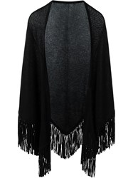 Antonia Zander Fringed Poncho Black