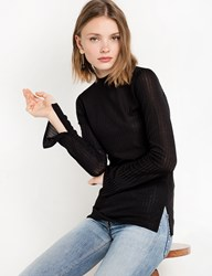 Pixie Market Black Skinny Ribbed Long Sleeve Top