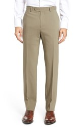 Santorelli Men's Flat Front Travel Trousers Tobacco