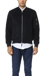 Shades Of Grey Woolen Chalk Stripe Bomber Navy Chalk Stripe