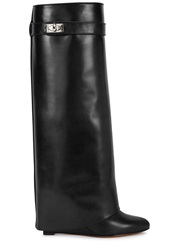 Givenchy Black Fold Over Leather Knee Boots