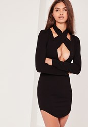Missguided Halterneck Plunge Curve Hem Bodycon Dress Black Black