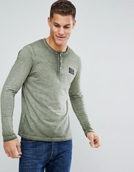Tom Tailor Long Sleeve T Shirt With Grandad Neck 7807 Green