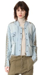 Free People Embroidered Chambray Jacket Blue