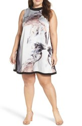 Elvi Plus Size Women's Print Trapeze Dress