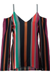 Tanya Taylor Pippa Cutout Striped Washed Silk Blouse Multi