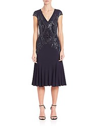 David Meister Beaded Detail Jersey Cocktail Dress Navy