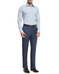 Brioni Phi Flat Front Twill Trousers Blue Men's