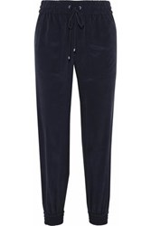Theory Washed Silk Track Pants Storm Blue