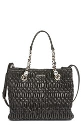 Miu Miu Small Crystal Matelasse Leather Satchel Black Nero
