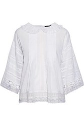 Love Sam Lace Paneled Pintucked Cotton Voile Blouse White