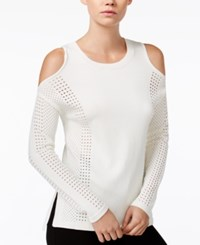 Bar Iii Perforated Cold Shoulder Sweater Only At Macy's Washed White