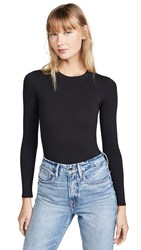 Good American Long Sleeve Crew Thong Bodysuit Black001