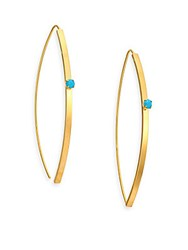 Jules Smith Designs Crystal Threaded Drop Earrings Gold Turquoise
