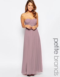Little Mistress Petite Bandeau Maxi Dress With Embellished Waist Dusty Pink