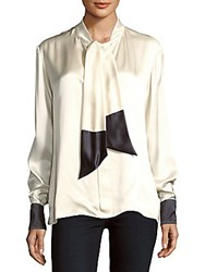 Martin Grant Two Tone Silk Blouse White Grey