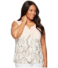 Calvin Klein Plus Size Printed Extended Shoulder With Hardware Nectar Multi Women's Sleeveless Gold