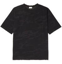 Saint Laurent Distressed Camouflage Print Cotton Jersey T Shirt Black