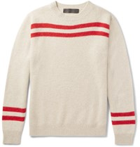 The Elder Statesman Striped Cashmere Sweater White