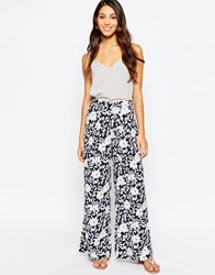 Oasis Wide Leg Printed Trousers Navyivory