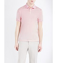 Etro Paisley Trimmed Silk And Cotton Blend Polo Shirt Pink