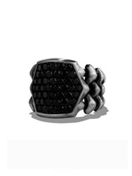 David Yurman Armory 2.99 Tcw Black Diamond And Sterling Silver Signet Ring Gunmetal