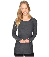 New Balance In Transit Long Sleeve Top Black Heather Women's Long Sleeve Pullover