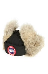 Canada Goose Men's Down Fill Aviator Hat With Genuine Coyote Fur Trim