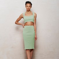 Wears London Mix N Match Kirsten Bralet And Pencil Skirt Set In Pastel Mint Green