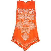 River Island Womens Orange Print Triangle Fringe Hem Top