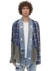 Greg Lauren Patchwork Plaid And Army Kimono Shirt Blue