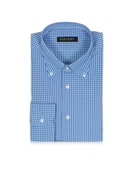 Forzieri Blue And Light Blue Checked Cotton Slim Fit Men's Shirt