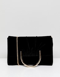 French Connection Foldover Clutch With Suede Panel Black