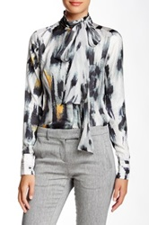 L.A.M.B. Silk Snow Leopard Bow Blouse White