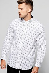 Boohoo Long Sleeve Polka Dot Print Shirt White