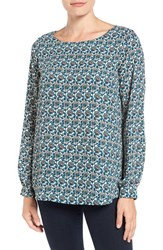 Pleione Women's Bateau Neck Long Sleeve Blouse Ivory Teal Taupe Flower Wave