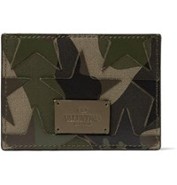 Valentino Camouflage Print Leather And Canvas Cardholder Green