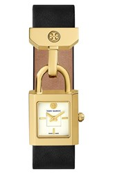 Women's Tory Burch 'Surrey' Leather Strap Watch 22Mm X 24Mm Black Gold
