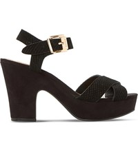 Dune Iyla Suede Heeled Sandals Black Reptile