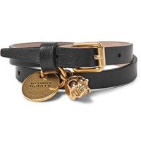 Alexander Mcqueen Leather And Burnished Gold Tone Skull Wrap Bracelet Black