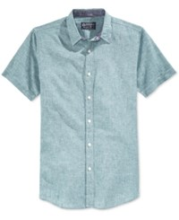 American Rag Men's Mandarin Short Sleeve Shirt Only At Macy's Dull Jade