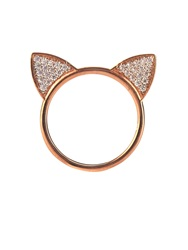 Aamaya By Priyanka Topaz And Rose Gold Plated Cat Ears Ring