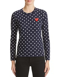 Comme Des Garcons Play Polka Dot Tee Navy White