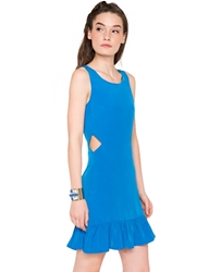 Pixie Market Blue Me Away Peplum Cutout Dress