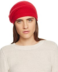Bloomingdale's C By Waffle Knit Cashmere Beret Cherry