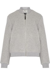 Acne Studios Azura Blanket Wool Blend Bomber Jacket Light Gray