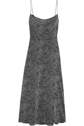 Kate Moss For Equipment Jessa Printed Washed Silk Maxi Dress Gray Snake Print