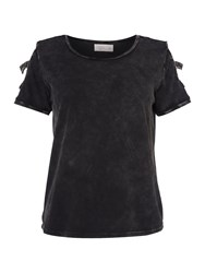 Label Lab Byrne Cutwork Jersey Top Washed Black